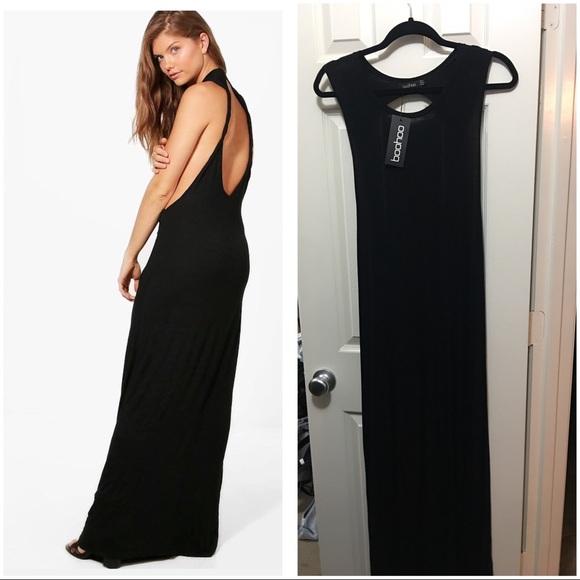 5c5bbb7acc Boohoo Black Twist Back Maxi dress